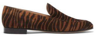 Gianvito Rossi Marcel Zebra-print Suede Loafers - Black Brown