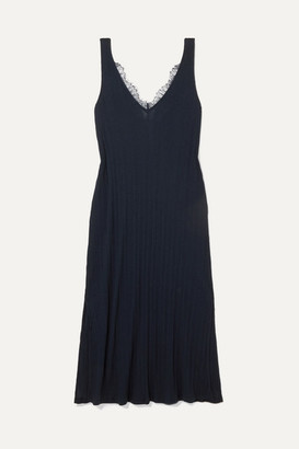 Skin - Brelle Lace-trimmed Ribbed Pima Cotton-jersey Chemise - Navy