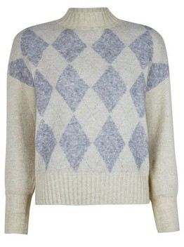 Dorothy Perkins Womens **Only Cream Diamond Print Knitted Jumper, Cream