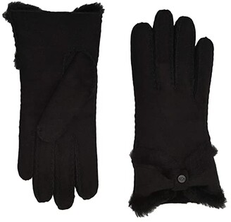 UGG Water Resistant Sheepskin Turned Bow Gloves (Black) Extreme Cold Weather Gloves
