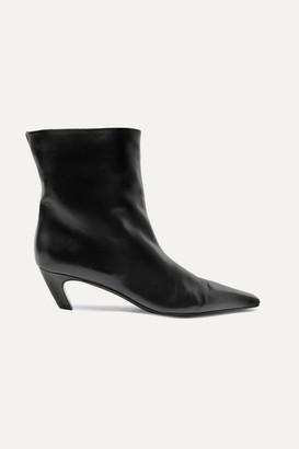 KHAITE Leather Ankle Boots - Black