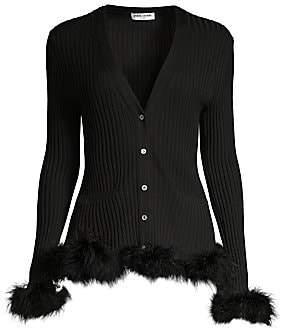 Opening Ceremony Women's Wool Rib-Knit Faux Fur-Trim Cardigan