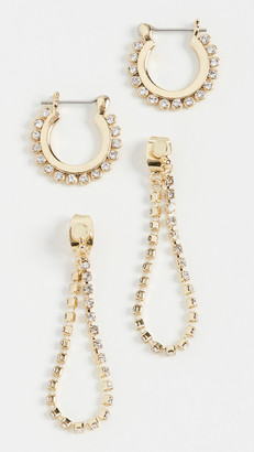 Luv Aj The Diamonte Hoops + Chain Stud Set