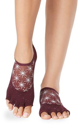 Toesox Luna Half-Toe Sparkle Star Grip Socks