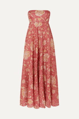 Zimmermann Veneto Strapless Printed Linen Midi Dress - Red