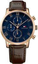 Tommy Hilfiger Men's Chronograph Dark Brown Leather Strap Watch 44mm