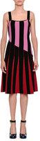 Tomas Maier Sleeveless Flared Stripe-Knit Dress