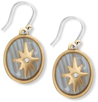 Lucky Brand Brushed White Agate Inlay & Crystal Star Overlay Drop Earrings