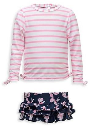 Snapper Rock Baby Girl's 2-Piece Striped & Floral Print Rashguard Swimsuit Set