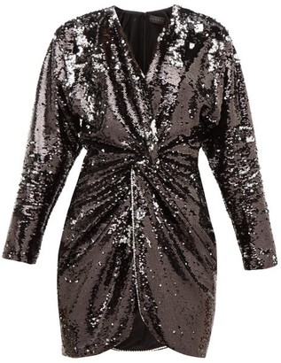 Dundas Crystal-trim Flip-sequinned Jersey Mini Dress - Black