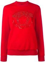 Versace embroidered Medusa sweatshirt - women - Polyester/Spandex/Elastane/Acetate/Silk - 40