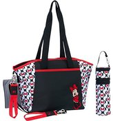 Disney Minnie Mouse 5-in-1 Diaper Tote Set. includes spacious tote, changing pad, pacifier holder, bottle holder, stroller clips. features interior & exterior pockets. Ideal When Travelling With Baby! by