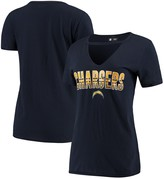New Era Women's Navy Los Angeles Chargers Gradient Glitter Choker V-Neck T-Shirt