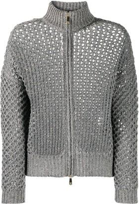 Peserico Metallic Open-Knit Cardigan