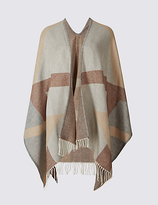 M&S Collection Checked Tassel Wrap