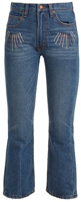 Bliss and Mischief Sunrise-embroidered High-rise Cropped Jeans - Blue