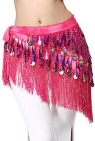 Yeeco Belly Dance Triangle Shape Hip rap Scarf with Dangling Gold Coins (Purple)