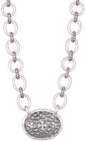 Freida Rothman CZ Pave Chain Link Hammered Clover Shield Pendant Necklace