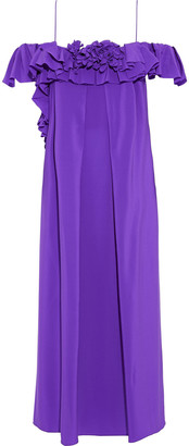 Victoria Beckham Cold-shoulder Ruffled Silk Crepe De Chine Midi Dress