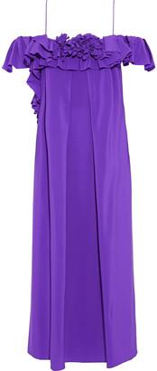 Victoria Beckham Cold-shoulder Ruffled Silk Crepe De Chine Midi Dress