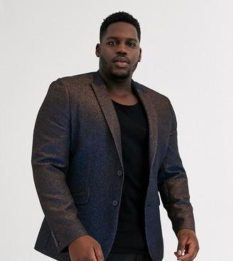 ASOS DESIGN Plus super skinny blazer in glitter black velvet