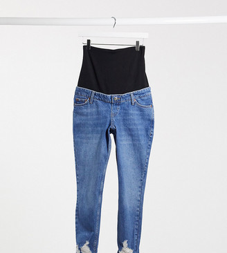 Topshop Maternity mom rip hem overbump jeans in mid wash