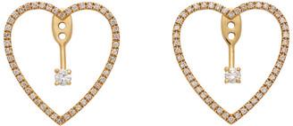 Yvonne Léon Gold Floating Heart Chip Earrings