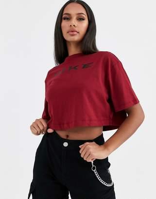 Nike burgundy oversized crop t-shirt-Red