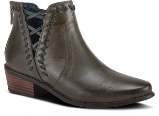 Spring Step Leather Stacked Heel Booties - Coppola