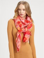 Silk Screened Tribal Print Scarf