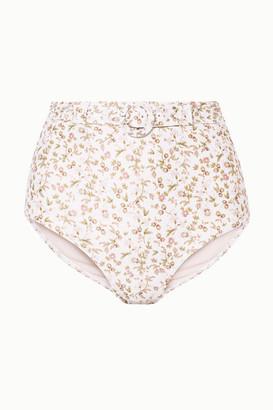Peony Swimwear + Net Sustain Belted Floral-print Bikini Briefs