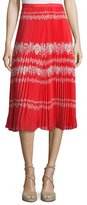 Self-Portrait Pleated Flower Spell Midi Skirt, Red/Cream