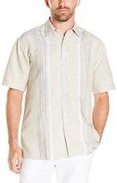 Cubavera Men's Short Sleeve Engineered Space Dye Woven Shirt