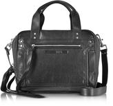 McQ by Alexander McQueen Black Studded Leather Loveless Medium Duffle Bag