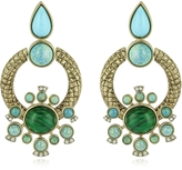 Roberto Cavalli Bohemian Gold and Turquoise Clip-on Earrings