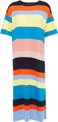 Chinti and Parker Logo-embroidered Striped Cotton Midi Dress