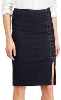 Lauren Ralph Lauren Petite Petite Denim Zatell Lace-Up Pencil Skirt