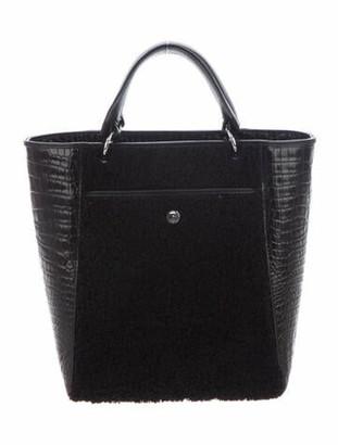 Elizabeth and James Embossed Leather Satchel Bag Black