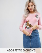 Asos Tiger Sweater with Floral Embroidery