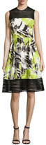 Carmen Marc Valvo Sleeveless Abstract-Print A-Line Dress, Lime