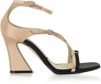 N°21 Black & Peach Satin Mid-Heel Sandals