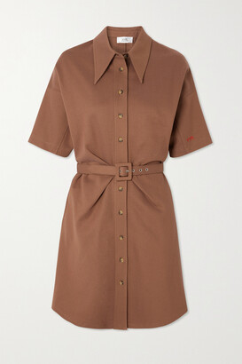 VVB Belted Jersey Shirt Dress - Brown