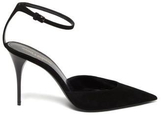 Saint Laurent Lexi Ankle-strap Suede Pumps - Black