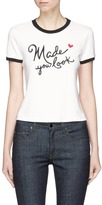 Alice + Olivia 'Rylyn' slogan embroidered ringer T-shirt