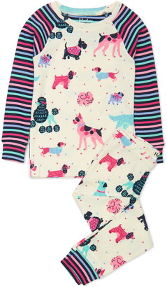 Hatley Kids' Colorful Pups Organic Cotton Fitted Two-Piece Pajamas