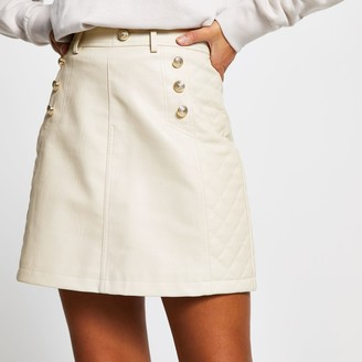 River Island Womens Beige PU quilted mini skirt