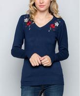 Navy Embroidered V-Neck Sweater
