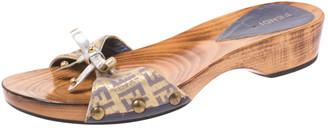 Fendi Multicolor Zucchino Canvas Bow Wooden Slides Size 38