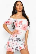 boohoo Floral Print Off The Shoulder Frill Hem Mini Dress