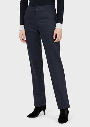 Emporio Armani Mixed-Wool Flannel Trousers